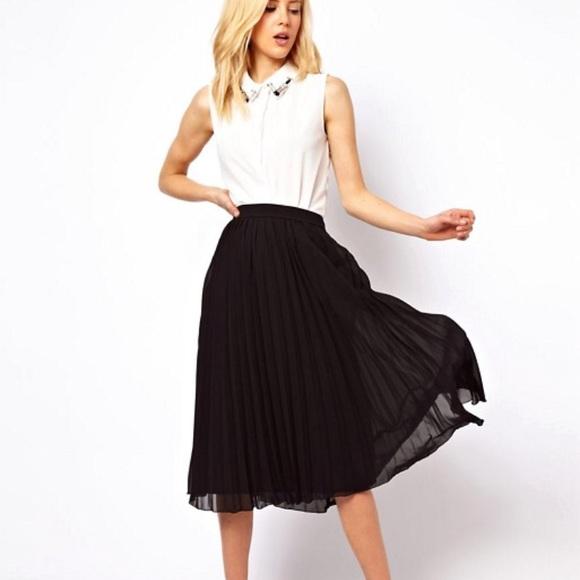 f08eea0677 ASOS Skirts | Black Pleated Midi Skirt | Poshmark